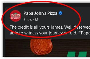 Papa John's Real Facebook Post